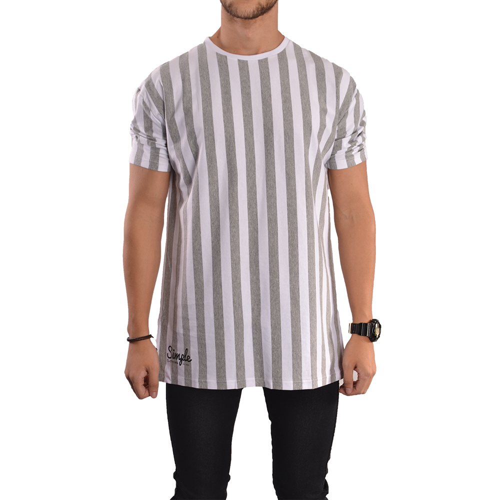 Grey white vertical striped t shirt simple clothing Grey striped t shirt
