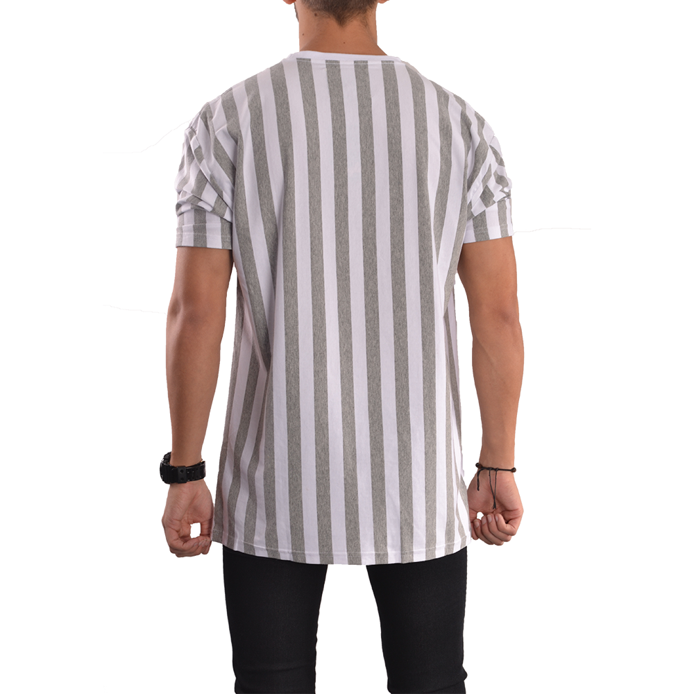 Grey white vertical striped t shirt simple clothing for Grey striped t shirt