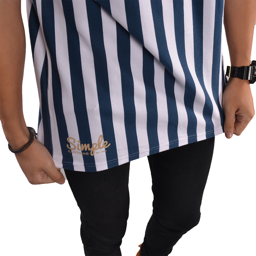 Blue & White Vertical Striped T-shirt - Simple Clothing