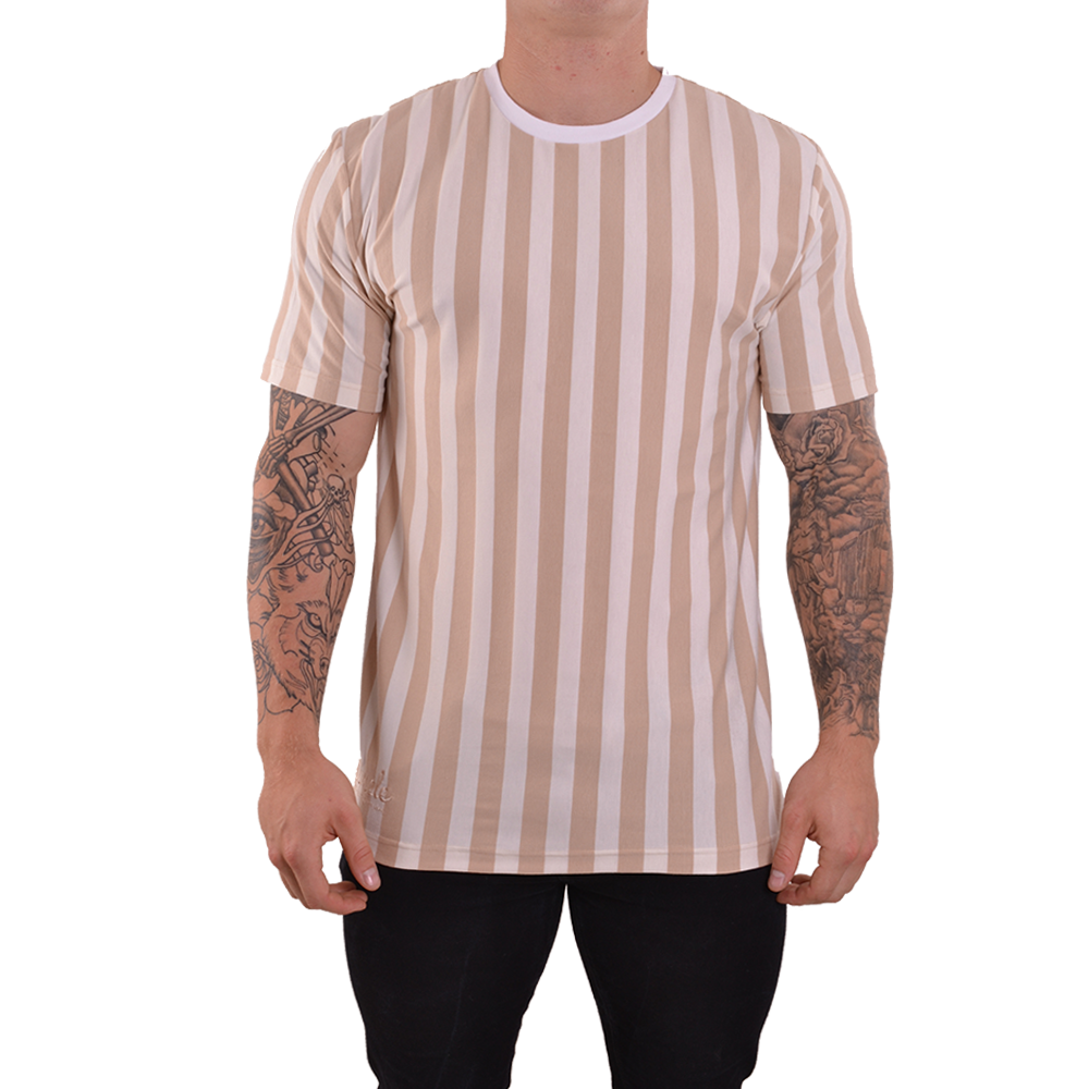Beige & Cream Vertical Striped T-shirt - Simple Clothing